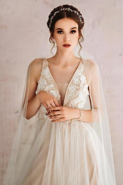 Open Back Appliques Tulle A-line Wedding Dress_4