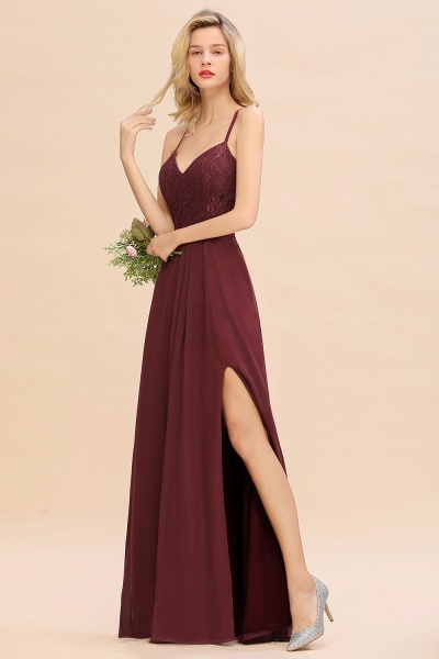 BM0753 Lace Spaghetti Straps A-Line Bridesmaid Dress_4