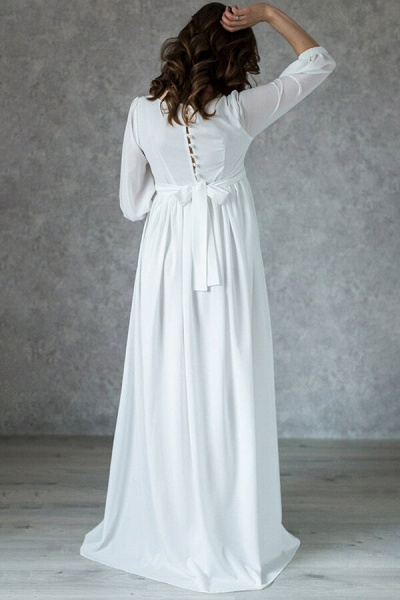 Awesome Floor Length Chiffon Wedding Dress_3