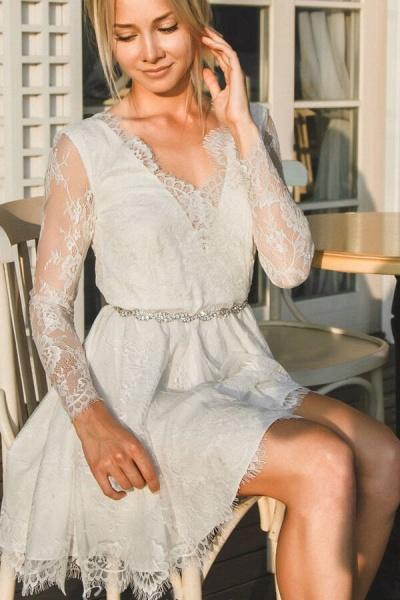 V-neck Long Sleeve A-line Lace Short Wedding Dress_1