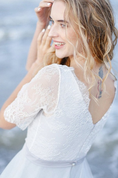 Awesome V-neck Lace Tulle A-line Wedding Dress_5