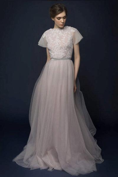 Graceful Short Sleeve Tulle A-line Wedding Dress_1