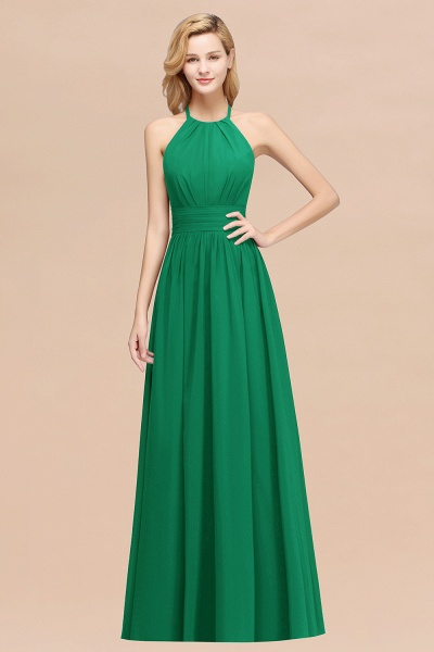 A-line Chiffon Appliques Halter Sleeveless Floor-Length Bridesmaid Dresses with Ruffles_49