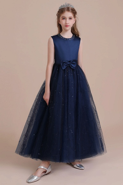 Chic Bow Tulle A-line Flower Girl Dress_1