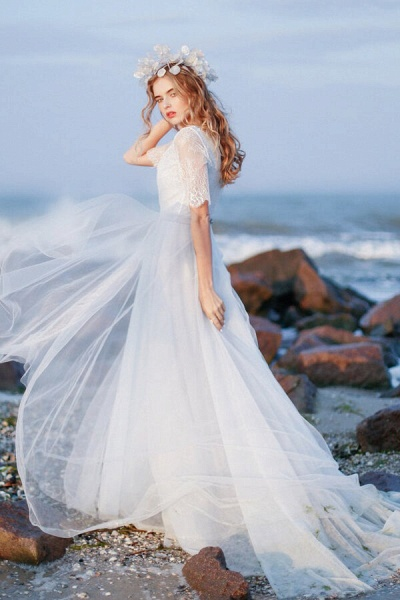 Awesome V-neck Lace Tulle A-line Wedding Dress_3