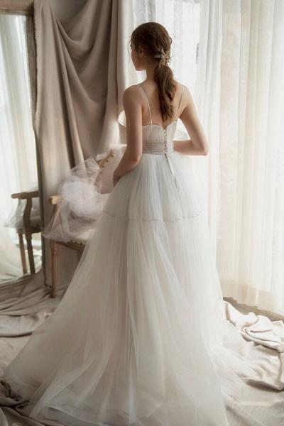 Elegant Ruffle Spaghetti Strap Tulle Wedding Dress_3