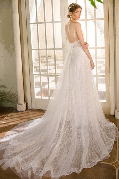 Best Cathedral Train Tulle A-line Wedding Dress_3