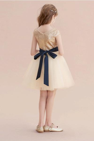 Sequins Tulle Cap Sleeve A-line Flower Girl Dress_3