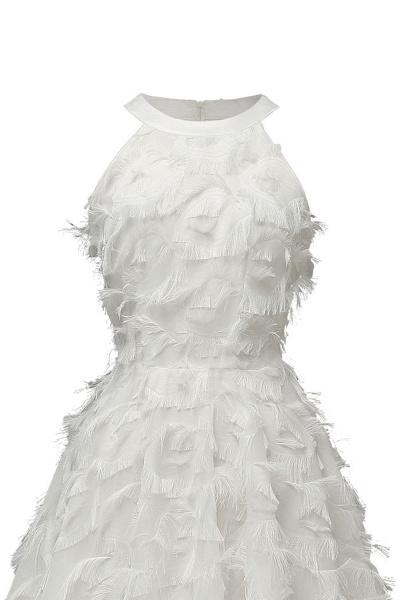 Elegant Halter Feather Princess Vintage Dresses | Retro A-line Burgundy Homecoming Dress_20