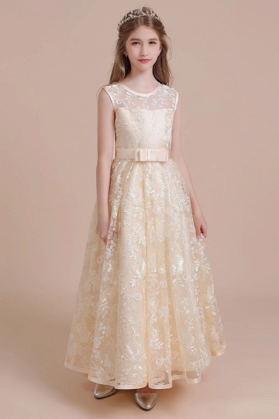 Amazing Lace Tulle A-line Flower Girl Dress_4