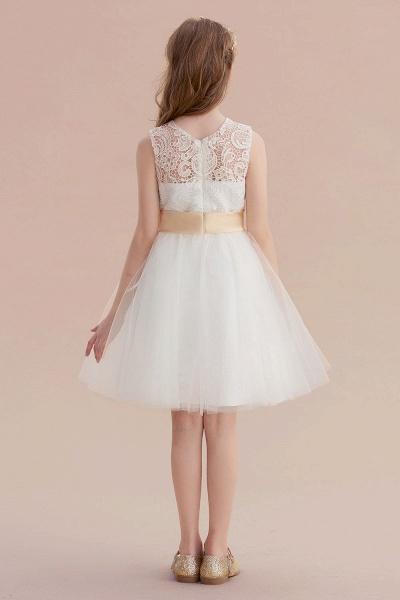 Lace Tulle Knee Length Dress Flower Girl Dress_7