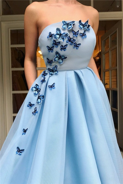 Sleek Strapless Tulle A-line Prom Dress_2