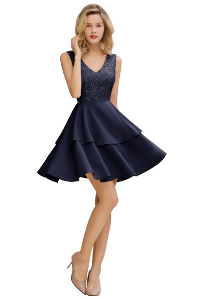 Sexy V-neck V-back Knee Length Homecoming Dress with Ruffle Skirt_3