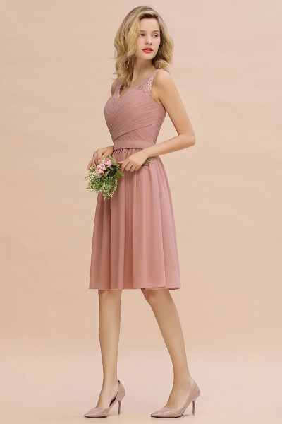 Lace V-neck Long Short Homecoming Dresses with Belt | Sexy Sleeveless V-back Pink Knee length Cocktail Dress_13