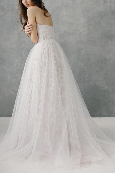Awesome Sweetheart Lace Tulle A-line Wedding Dress_4
