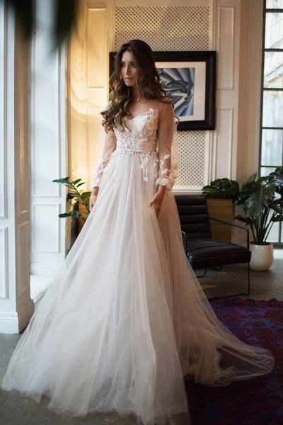 Appliques Tulle Long Sleeve A-line Wedding Dress_1