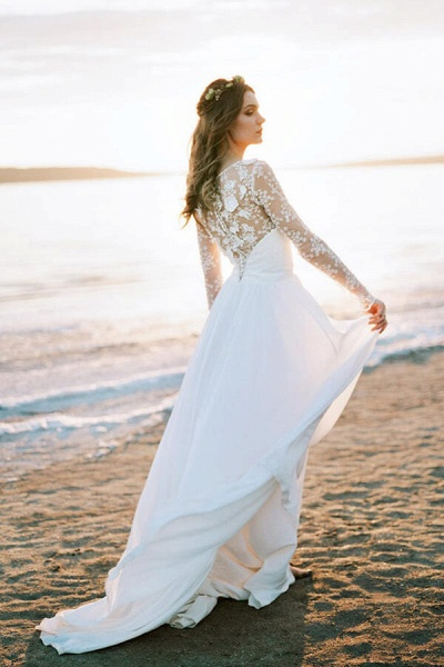 Awesome Long Sleeve Appliques Chiffon Wedding Dress_5