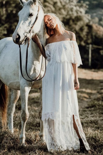 Off-the-shoulder Lace Floor Length Wedding Dress_1