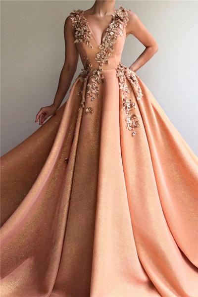 Sleek V-neck Tulle Ball Gown Prom Dress_1