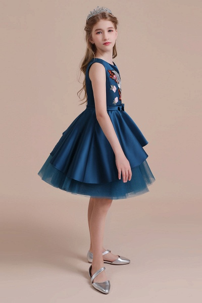 Embroidered Satin Tulle A-line Flower Girl Dress_8