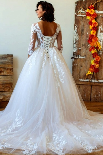 Lace-up Appliques Tulle Ball Gown Wedding Dress_3