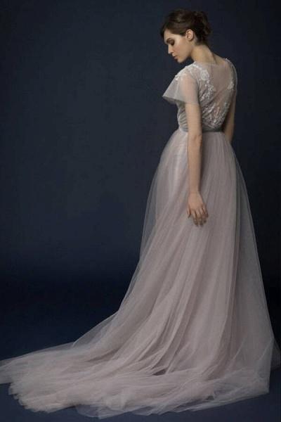 Graceful Short Sleeve Tulle A-line Wedding Dress_3