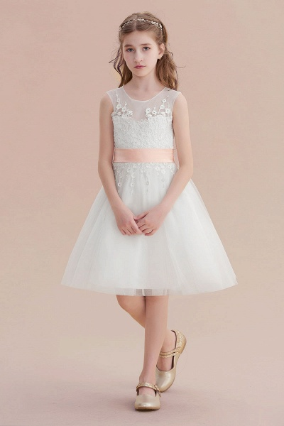 Illusion Appliques Tulle A-line Flower Girl Dress_1
