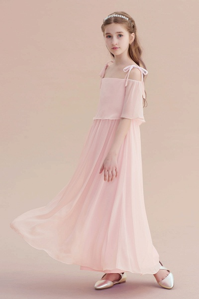 Cold-shoulder A-line Chiffon Flower Girl Dress_6
