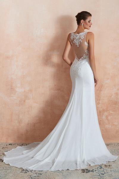 Chic Applique Satin Tulle Mermaid Wedding Dress_7