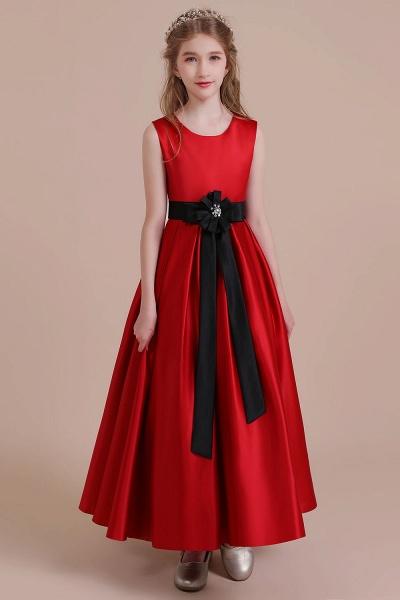 Elegant Satin A-line Flower Girl Dress_1