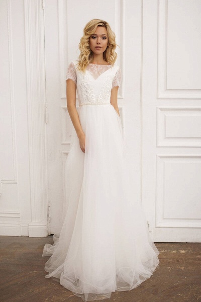 Short Sleeve Lace A-line Chiffon Wedding Dress_1