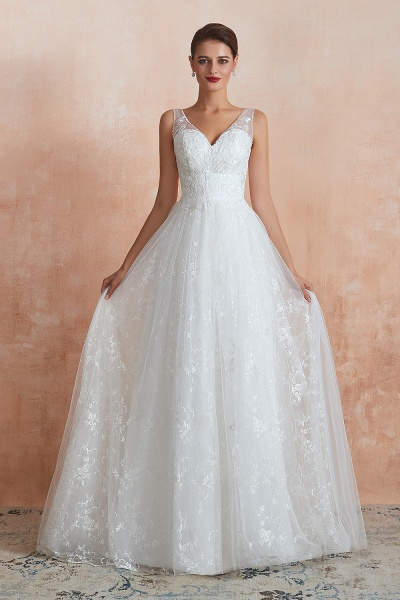 Elegant V-neck Lace Tulle A-line Wedding Dress_1