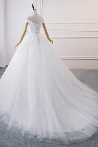 Amazing V-neck Lace Tulle Ball Gown Wedding Dress_4