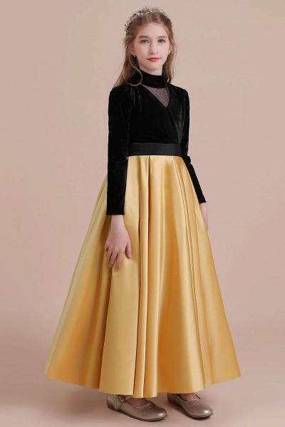 High-neck Velvet Satin A-line Flower Girl Dress_6