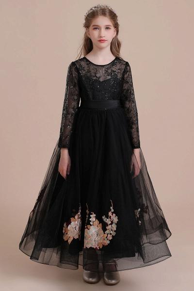 Embroidered Long Sleeve Tulle Flower Girl Dress_4