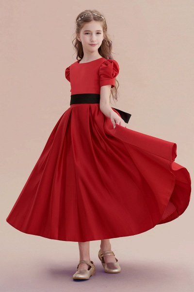 Awesome Short Sleeve A-line Satin Flower Girl Dress_7