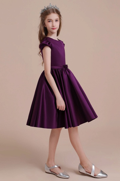Graceful Cap Sleeve Satin A-line Flower Girl Dress_6