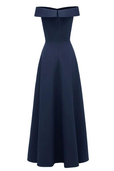 Women Simple Off-the-shoulder Bridesmaid Party Dress Long Burgundy Dress_20