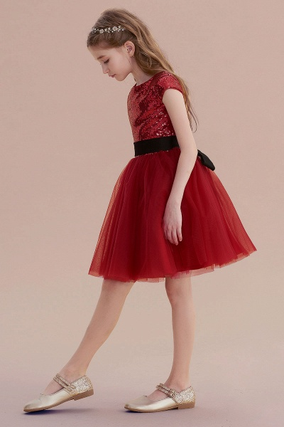 Cap Sleeve Sequins Tulle A-line Flower Girl Dress_4