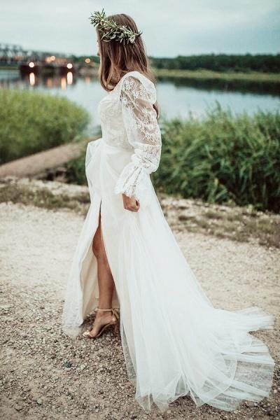 Front Slit Long Sleeve Lace Tulle Wedding Dress_6