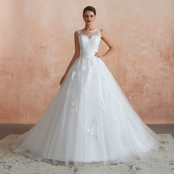 Amazing Illusion Appliques Tulle Wedding Dress_1