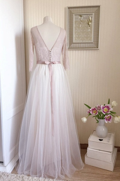 Amazing Sheer Lace Tulle Floor Length Wedding Dress_12