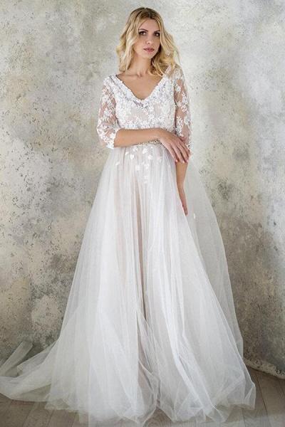 Best V-neck Floor Length Tulle Sheath Wedding Dress_4