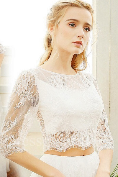 Graceful Sheer Lace Tulle Two Piece Wedding Dress_5