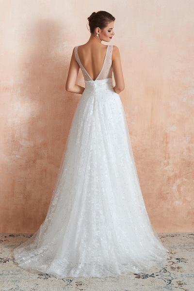 Graceful V-neck Pearl Tulle A-line Wedding Dress_3