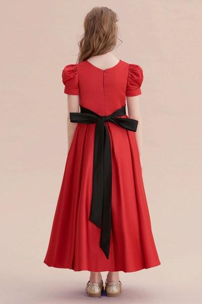 Awesome Short Sleeve A-line Satin Flower Girl Dress_3