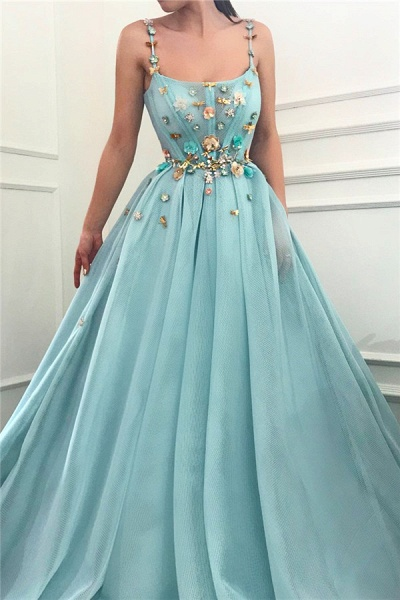 Modest Spaghetti Straps Tulle Ball Gown Prom Dress_1