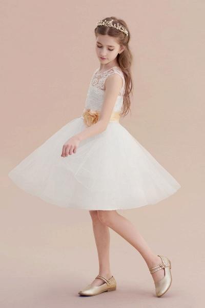 Lace Tulle Knee Length Dress Flower Girl Dress_4