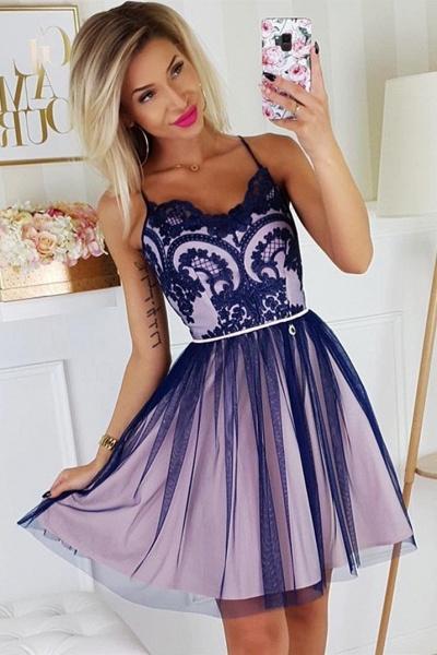 Chic Spaghetti Straps Lace Homecoming Dress_1