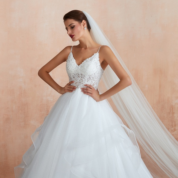 Glorious Appliques Tulle A-line Wedding Dress_10